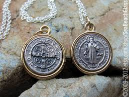 elegant saint necklace benedict mini st medal protection zoom meaning gold kim kardashian nordstrom lau