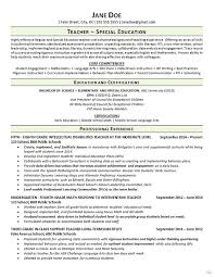 Teacher Resume Best Special Education Teacher Resume Math Language Arts