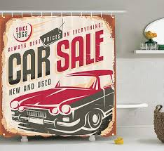 auto for sale sign 1960s decor shower curtain set nostalgic car sale sign new and used