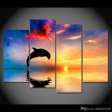 2018 canvas art canvas painting dolphin sunset sea hd printed wall art home decor poster wall pictures for living room xa221d from solutionwinni  on dolphin canvas wall art with 2018 canvas art canvas painting dolphin sunset sea hd printed wall