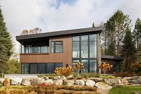 modern home architecture stone. This Modern Lake House In Canada Has An Exterior Clad Wood, Stone, And Home Architecture Stone F