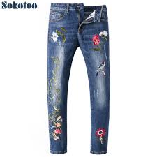 Pants In Sokotoo Mens Birds Flowers Embroidery Jeans Fashion Slim Embroidered Blue Denim Pants In Jeans From Mens Clothing