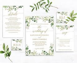 Wedding Invitation Template Greenery Wedding Invitation Template Green And Gold Printable Wedding Invitation Greenery Editable Wedding Invitation Set Vw29