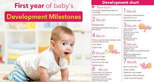 Developmental Milestones First Year Chart 1 Year Baby Monthly Development Chart Or Milestone