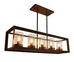 rustic kitchen island rectangular pendant chandelier distressed copper finish