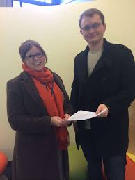 course reps achieve speedy connection university of leicester vladimirs presents the petition to liz bailey