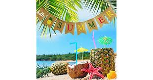 <b>Hello Summer</b> Burlap Banner Rustic Summer Banner with Flamingo ...