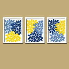 yellow navy blue flower burst dahlia artwork set of 3 trio prints decor abstract picture bedroom on yellow blue and gray wall art with blue yellow wall art bedroom canvas or prints bathroom artwork