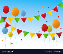 Happy Birthday Balloons Banner Colored Happy Birthday Balloons Banner Background Vector Image