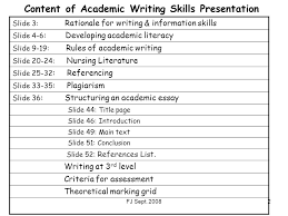 undergrad stage bsc th sept essential academic ppt  content of academic writing skills presentation