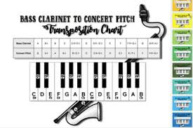 B Flat Clarinet Transposition Chart Bb To Concert Pitch Transposition Chart For Bass Clarinet