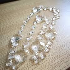 5m crystal garland 14mm octagonal glass crystal strands with 30mm crystal ball pendant for wedding