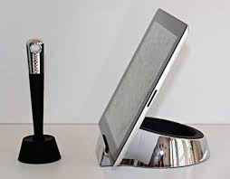 The stylus comes with its own holder that's weighty enough to hold the  heavy pen in place. The Chef Stand and the Stylus have matching styles and  look good ...