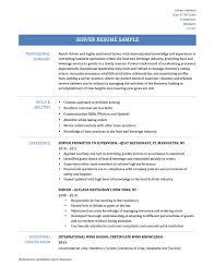 Beverage Server Sample Resume Awesome Sample Resume Server With Additional Beverage Server Sample 11