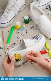 Diy Shoes Design Girl Sewing A Yellow Smile Stock Photo Image Of Marker