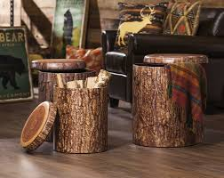 Wellfleet 3 Piece Faux Tree Bark Storage Stump Set