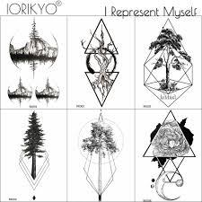 Iorikyo женщины рука татуировки наклейки геометрические лес мужчины мужчины