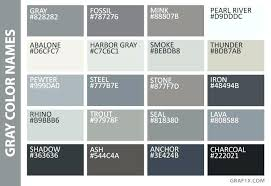 Html Color Chart With Names Gray Shades Image Result For Of Colours And Their Names In