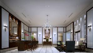 ceo office with chandelier and wall lamps