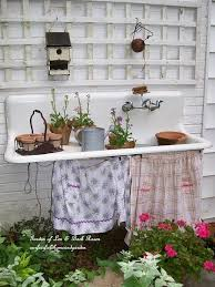 made from an old door and enameled table top by jeannespines via gardenweb
