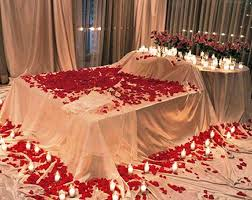 first night room decoration with roses