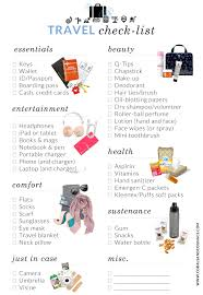 list for traveling free travel check list pack the perfect carry on