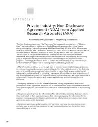 Nda Template Intellectual Property Appendix F Private Industry Non Disclosure Agreement Nda From