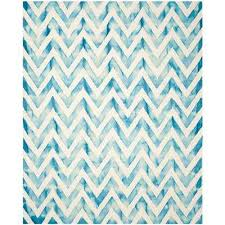 dip dye ivory turquoise 8 ft x 10 ft area rug