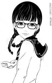 女子学生 白黒 眼鏡のイラスト素材 20511707 Pixta