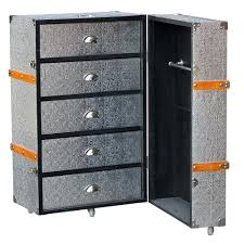 Luggage With Drawers Kar Blackened Silver Metal Embossed Luggage Trunk And Drawers On