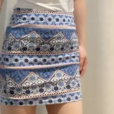 Aztec Design Skirt H M Blue Aztec Design Tight Mini Skirt In Good Depop
