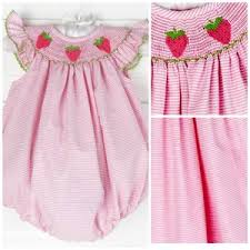 Smocked Auctions Size Chart Soldsie Smocked Strawberry Bubble Pink Stripe