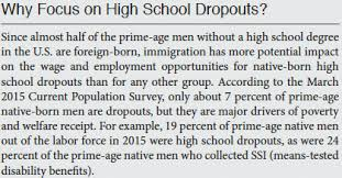 low skilled immigrants are still not harming low skilled natives  but in his paper mr richwine thought the distinction between high school graduates and dropouts was very important as he explained