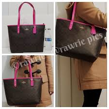 NWT COACH SIGNATURE CITY ZIP TOTE BAG Black Brown Fuchsia Leather ...