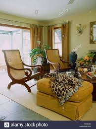 Printed Chairs Living Room Cane Back Planters Chairs And Yellow Ottoman Stool With Leopard