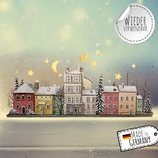 Fensterbild Weihnachtsdeko Winterstadt Stadt Sterne