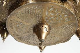 moorish brass moroccan mosque chandelier in the style of alberto pinto for
