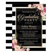 Elegant Graduation Announcements Elegant Floral Gold Black White Stripes Graduation Invitation