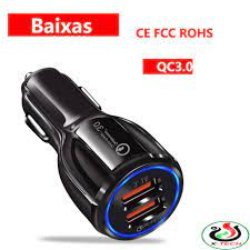 Tẩu Sạc Nhanh Xe Hơi 12V Xe Tải 24V 2 cổng USB 3.1A/15W Cốc Sạc Nhanh QC3.0  Quick Chagre 3.0 Xe Hơi BKS-2U