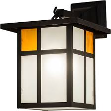 meyda 175280 hyde park craftsman clear frosted inside solar black powdercoated outdoor lighting wall sconce loading zoom