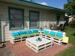patio furniture from pallets. diy pallet patio furniture 8 pallets16 weatherproofing stain30 paint16 seat cushions 63 at kohls throw pillows38 supplies atu2026 pinteresu2026 from pallets