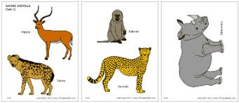Small Picture Safari or African Savanna Animals Printable Templates Coloring