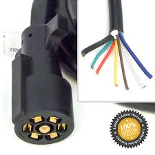 amazon com 7 way rv blade molded plug trailer wire 8' feet Rv 7 Wire Blade Plug Diagram amazon com 7 way rv blade molded plug trailer wire 8' feet replacement cable cord harness with premium double prong connector end car electronics Ford 7 Blade Trailer Wiring