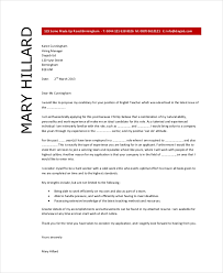 Work Experience Cover Letter Teacher Cover Letter Example 9 Free Word Pdf Documents Download