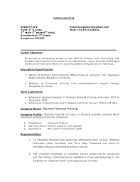 Entry Level career objective for resume for fresher in Reserach Analyst  work experience
