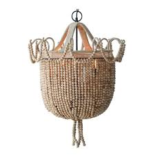 natural wood beaded 33 tall chandelier hand made basket and loop
