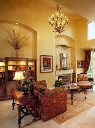 Tuscan Living Room Tuscan Living Room With Decorative Furniture And Mirror Over