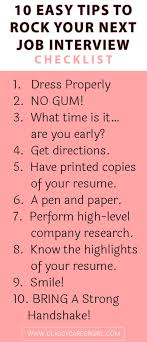 ideas about job interview tips job interview checklist 10 easy tips to rock your next job interview