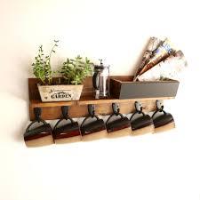 custom made rustic wall mounted coffee mug rack with shelf cup rack