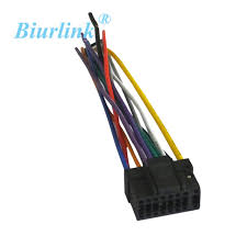 biurlink 10pcs car factory stereo harness cable wire 16pin connector alpine stereo harness diagram at Alpine Stereo Harness